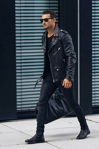 How to wear: black leather chelsea boots, black skinny jeans, black crew-neck t-shirt, black leather biker jacket