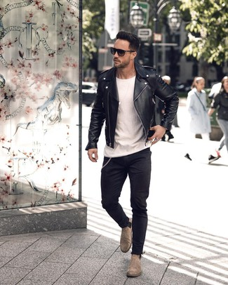 How to wear: grey suede chelsea boots, black skinny jeans, white crew-neck t-shirt, black leather biker jacket
