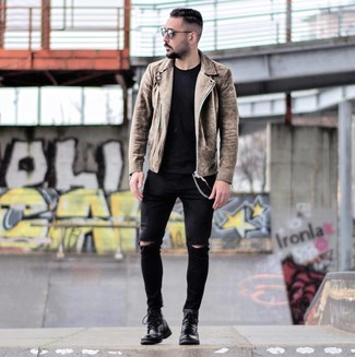 How to wear: black leather casual boots, black ripped skinny jeans, black crew-neck t-shirt, brown suede biker jacket