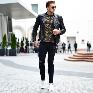How to wear: white athletic shoes, black ripped skinny jeans, olive camouflage crew-neck t-shirt, black leather biker jacket