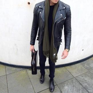 How to wear: black leather chelsea boots, black skinny jeans, black crew-neck t-shirt, black leather biker jacket