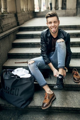 How to wear: brown leather brogues, grey ripped skinny jeans, black mesh crew-neck t-shirt, black leather biker jacket