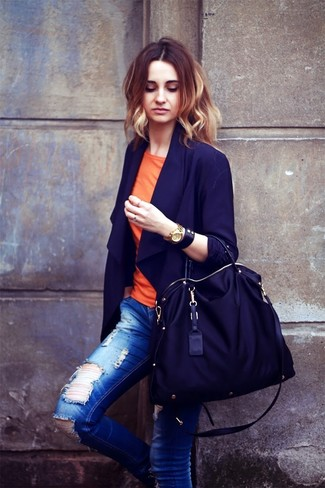 How to wear: black canvas tote bag, blue ripped skinny jeans, orange crew-neck t-shirt, navy blazer