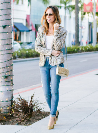 How to wear: gold sequin pumps, blue ripped skinny jeans, white crew-neck t-shirt, gold sequin blazer