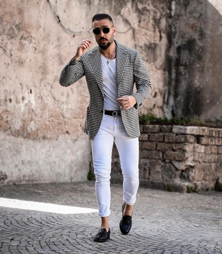 How to Wear a Black and White Gingham Blazer For Men: Wear a black and white gingham blazer and white skinny jeans to feel completely confident and look casually cool. Let your sartorial credentials truly shine by finishing off this getup with black leather tassel loafers.