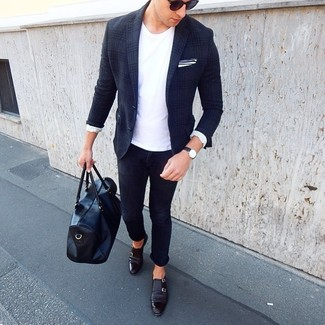 How to wear: black leather double monks, navy skinny jeans, white crew-neck t-shirt, navy plaid wool blazer