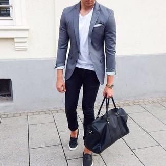 How to wear: black leather slip-on sneakers, black skinny jeans, white crew-neck t-shirt, grey blazer