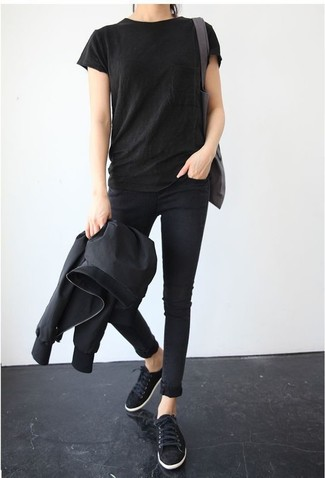How to wear: black suede low top sneakers, black skinny jeans, black crew-neck t-shirt, black bomber jacket