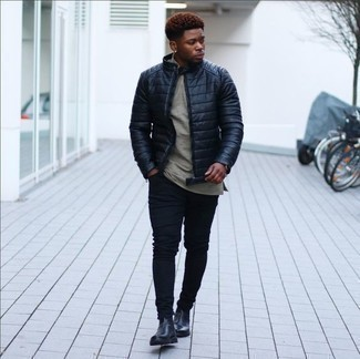 How to Wear Boots For Men: This off-duty pairing of a navy quilted bomber jacket and black skinny jeans is a solid bet when you need to look cool in a flash. If you want to easily up this look with footwear, why not complete this outfit with a pair of boots?