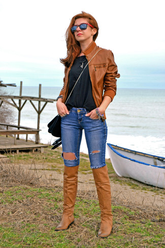 1a5ce1300 Women's Brown Leather Knee High Boots, Blue Ripped Skinny Jeans ...