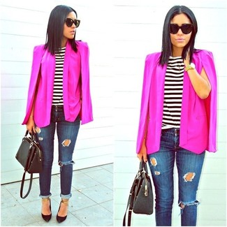 How to wear: black leather pumps, navy ripped skinny jeans, white and black horizontal striped crew-neck t-shirt, hot pink cape blazer