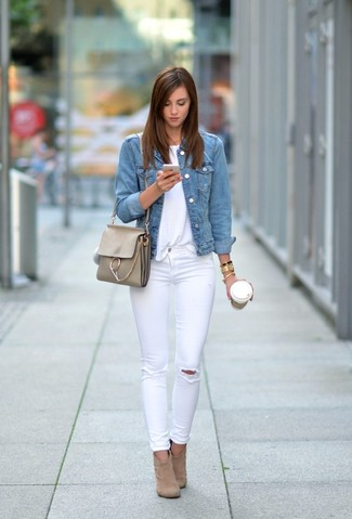 How to wear: tan suede ankle boots, white ripped skinny jeans, white crew-neck t-shirt, light blue denim jacket