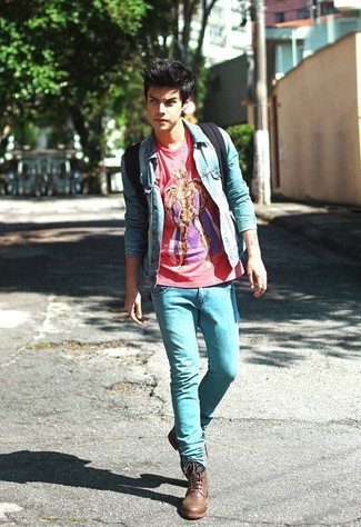 How to wear: brown leather casual boots, light blue skinny jeans, red print crew-neck t-shirt, light blue denim jacket
