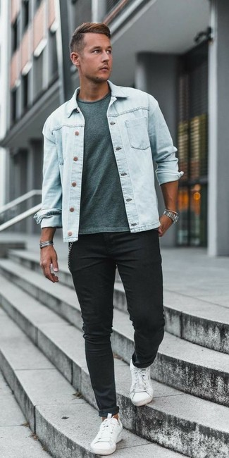 How to wear: white canvas low top sneakers, black skinny jeans, mint crew-neck t-shirt, light blue denim jacket