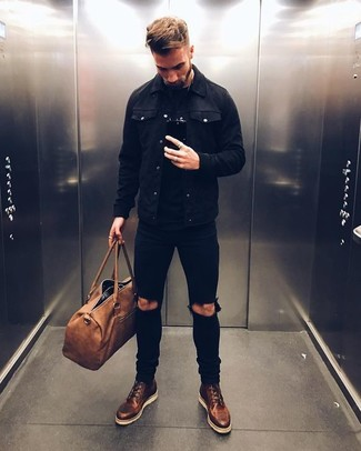 How to wear: dark brown leather casual boots, black ripped skinny jeans, black crew-neck t-shirt, black denim jacket
