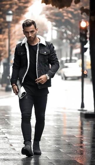 How to wear: black suede chelsea boots, black skinny jeans, black crew-neck t-shirt, black denim jacket