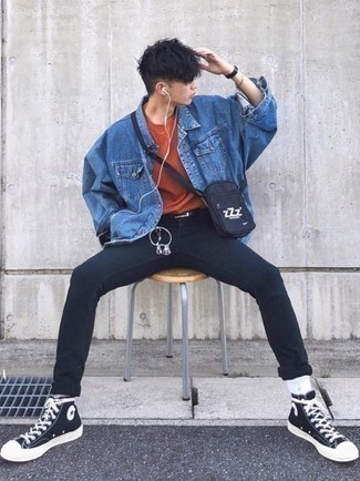 How to Wear Black Skinny Jeans For Men: Demonstrate your prowess in men's fashion by putting together a blue denim jacket and black skinny jeans for an off-duty outfit. Here's how to bring a more casual spin to this outfit: black and white canvas high top sneakers.