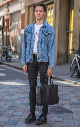 How to Wear a Black Leather Briefcase: When the setting allows casual city dressing, rock a blue denim jacket with a black leather briefcase. Don't know how to round off this outfit? Wear a pair of black canvas low top sneakers to ramp it up.