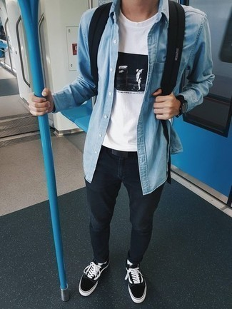 How to Wear a Light Blue Denim Shirt For Men: If you're searching for an edgy yet dapper look, team a light blue denim shirt with black skinny jeans. Black and white canvas low top sneakers are a foolproof footwear style here that's full of character.