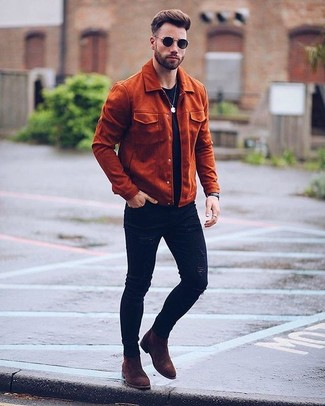 How to Wear Dark Brown Suede Chelsea Boots For Men: A tobacco suede field jacket and black ripped skinny jeans will add serious cool to your current casual wardrobe. Finishing with dark brown suede chelsea boots is a simple way to add a bit of fanciness to your outfit.