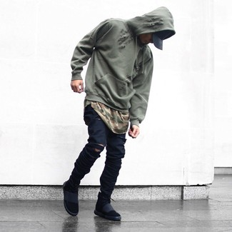 Men's Black High Top Sneakers, Black Ripped Skinny Jeans, Olive Camouflage Crew-neck T-shirt, Olive Hoodie