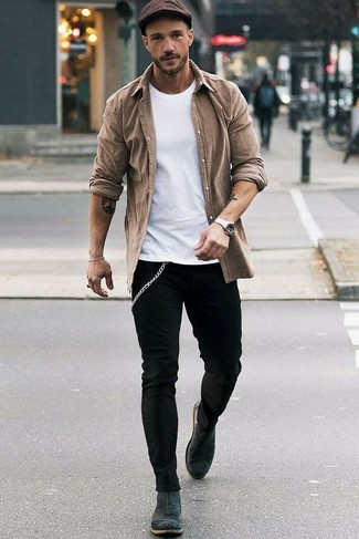 How to Wear a Brown Long Sleeve Shirt For Men: This combo of a brown long sleeve shirt and black skinny jeans is an exciting pick for when it's time to clock off. Balance your getup with a more polished kind of footwear, like these charcoal suede chelsea boots.