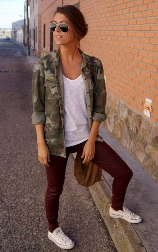 Leather Appliqued Camouflage Print Cotton Canvas Jacket