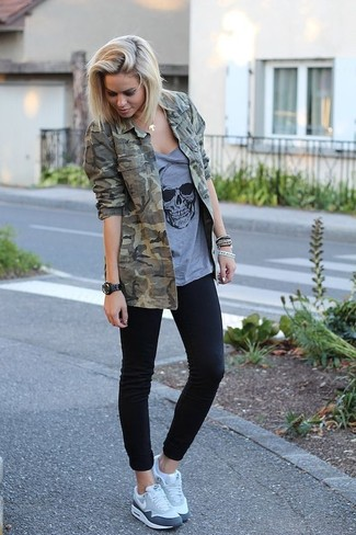 Revived Cropped Camo Jacket With Faces Print