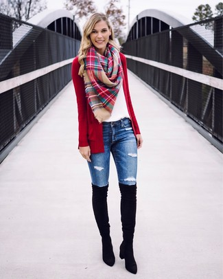 How to wear: black suede over the knee boots, blue ripped skinny jeans, white crew-neck t-shirt, red open cardigan