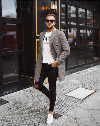 How to wear: white leather low top sneakers, black ripped skinny jeans, white and black print crew-neck t-shirt, black and white gingham overcoat