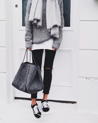 55f473e056 How To Wear a Grey Sweater With Black Low Top Sneakers For Women (27 ...