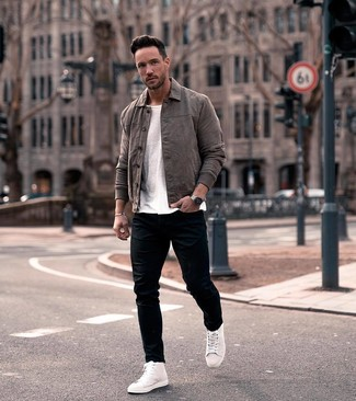 How to wear: white leather high top sneakers, black skinny jeans, white crew-neck t-shirt, charcoal leather shirt jacket