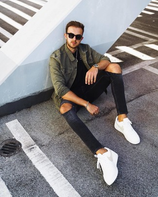 How to wear: white leather low top sneakers, black ripped skinny jeans, black crew-neck t-shirt, olive shirt jacket