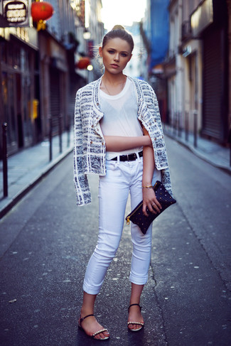 How to wear: black embellished leather flat sandals, white skinny jeans, white crew-neck t-shirt, white tweed jacket