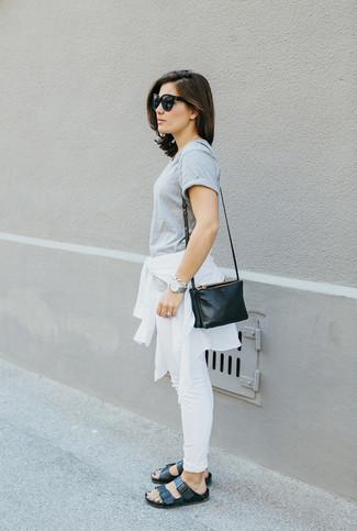 How to wear: black leather gladiator sandals, white skinny jeans, grey crew-neck t-shirt, white windbreaker