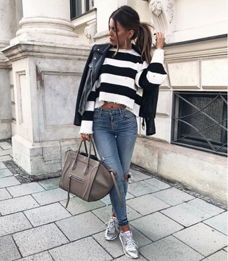 How to Wear a Grey Leather Satchel Bag: A black leather biker jacket and a grey leather satchel bag are a good outfit formula to add to your sartorial collection. Finishing off with a pair of silver leather low top sneakers is a simple way to bring a little oomph to your look.