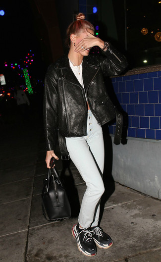 How to wear: black athletic shoes, white skinny jeans, white cropped top, black leather biker jacket
