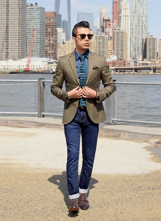How to Wear an Olive Bracelet For Men: An olive blazer and an olive bracelet are amazing menswear pieces to add to your daily styling lineup. If you want to instantly rev up this look with one single piece, complete this look with a pair of dark brown leather double monks.
