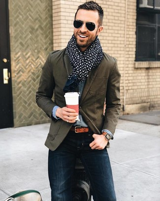 How to wear: navy paisley cotton scarf, navy skinny jeans, blue denim shirt, olive cotton blazer
