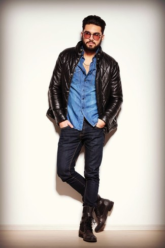 How to wear: dark brown leather casual boots, black skinny jeans, blue denim shirt, black quilted leather bomber jacket