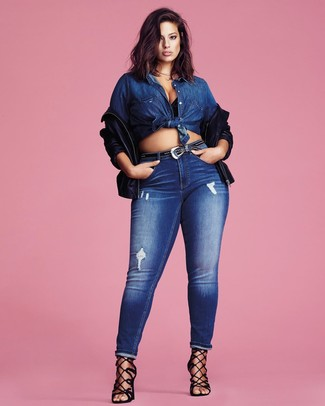 How to wear: black suede heeled sandals, blue ripped skinny jeans, blue denim shirt, black leather bomber jacket