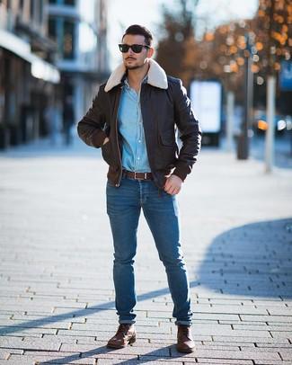 Men's Brown Leather Casual Boots, Blue Skinny Jeans, Light Blue Denim Shirt, Dark Brown Leather Bomber Jacket