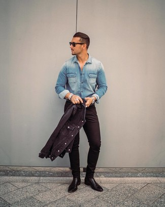 How to wear: black leather chelsea boots, black skinny jeans, blue denim shirt, black denim jacket