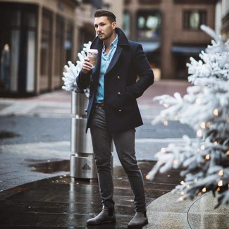 How to wear: grey suede chelsea boots, charcoal skinny jeans, light blue denim shirt, navy pea coat