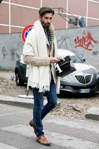 How to wear: brown leather double monks, navy ripped skinny jeans, blue denim shirt, beige shawl cardigan