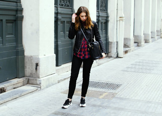 How to wear: black and white athletic shoes, black skinny jeans, red and navy plaid dress shirt, black quilted leather biker jacket