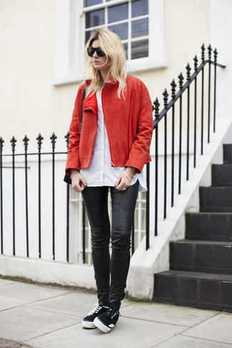 Leather Effect Skinny Jeans