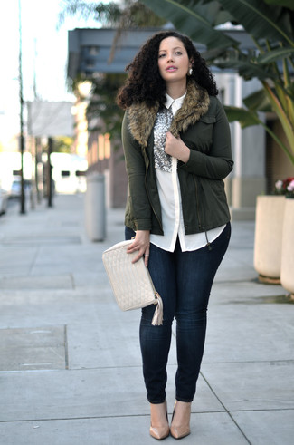 How to wear: tan leather pumps, navy skinny jeans, white embellished silk dress shirt, olive biker jacket