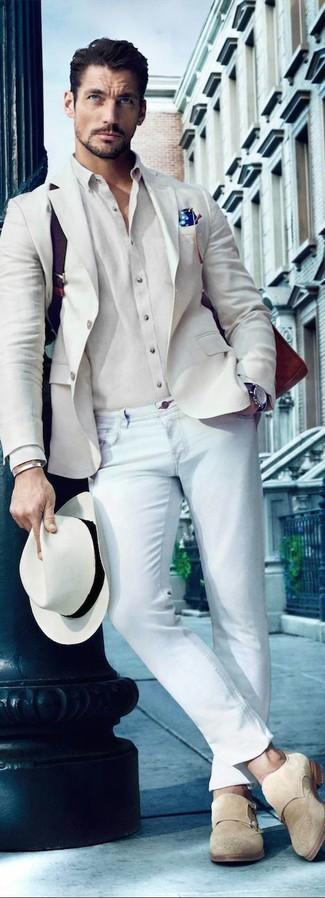 How to wear: beige suede double monks, light blue skinny jeans, beige dress shirt, beige blazer
