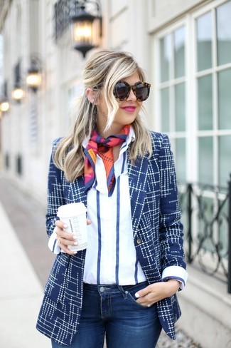 How to wear: multi colored print silk scarf, navy skinny jeans, white and navy vertical striped dress shirt, navy print blazer